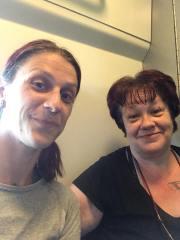 Zoe & I on the train